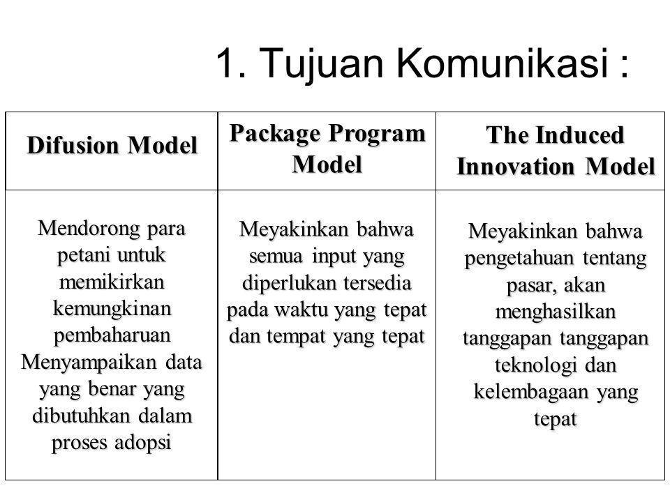 1. Tujuan Komunikasi : Package Program Model Meyakinkan bahwa semua input yang diperlukan tersedia pada waktu yang tepat dan tempat yang tepat The Ind