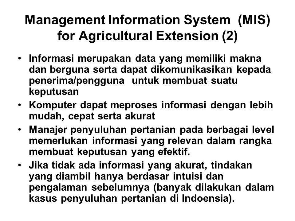 Management Information System (MIS) for Agricultural Extension (2) Informasi merupakan data yang memiliki makna dan berguna serta dapat dikomunikasika