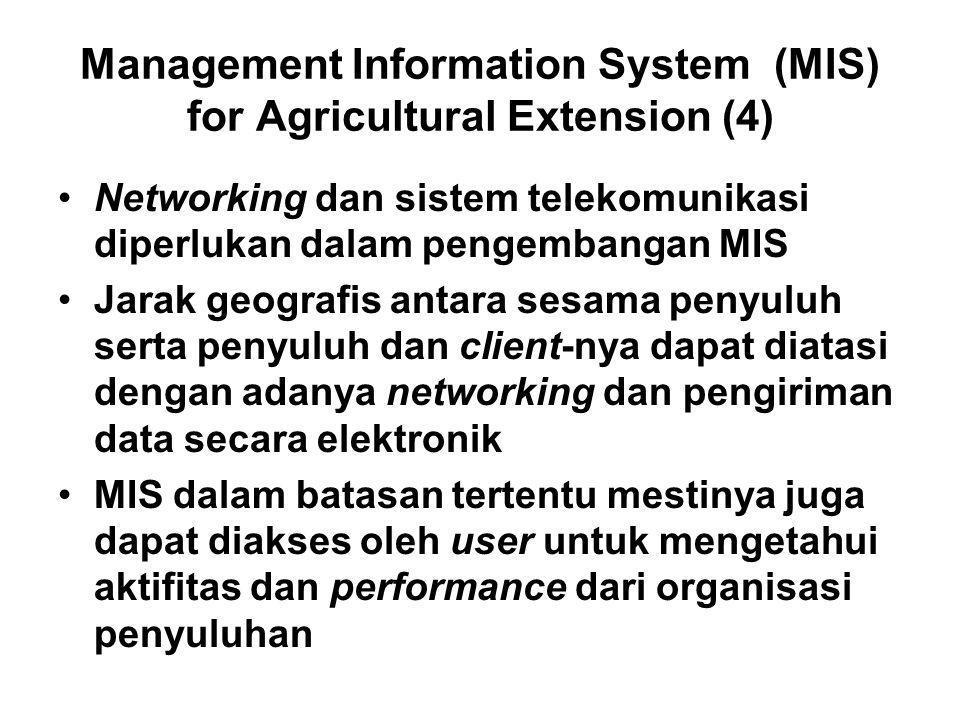 Management Information System (MIS) for Agricultural Extension (4) Networking dan sistem telekomunikasi diperlukan dalam pengembangan MIS Jarak geogra