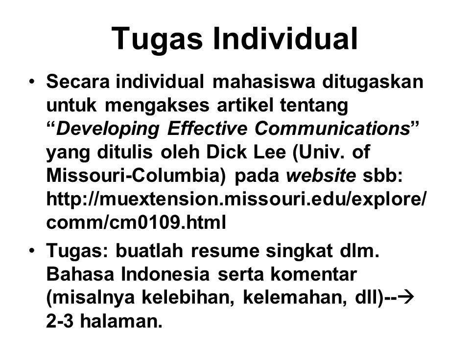 """Tugas Individual Secara individual mahasiswa ditugaskan untuk mengakses artikel tentang """"Developing Effective Communications"""" yang ditulis oleh Dick L"""