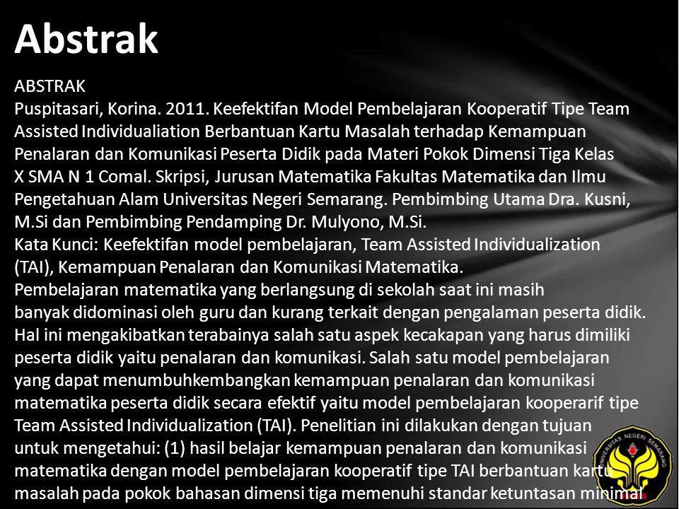 Abstrak ABSTRAK Puspitasari, Korina. 2011.