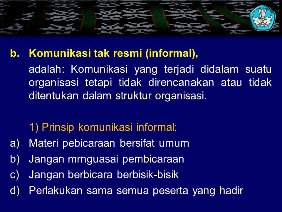 3) Syarat-syarat komunikasi formal: 1)Keterbukaan 2)Ada bimbingan dan control 3)Hindari perdebatan 4)Hindari monopoli pembicaraan 5)Pertanyaan singkat