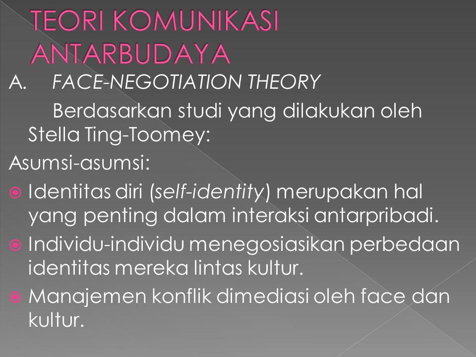 A.FACE-NEGOTIATION THEORY Berdasarkan studi yang dilakukan oleh Stella Ting-Toomey: Asumsi-asumsi:  Identitas diri (self-identity) merupakan hal yang penting dalam interaksi antarpribadi.