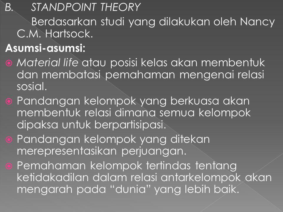 B.STANDPOINT THEORY Berdasarkan studi yang dilakukan oleh Nancy C.M.