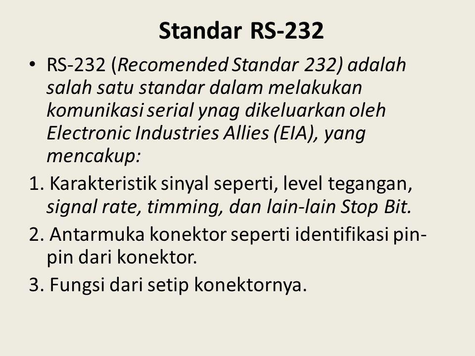 Standar RS-232 RS-232 (Recomended Standar 232) adalah salah satu standar dalam melakukan komunikasi serial ynag dikeluarkan oleh Electronic Industries
