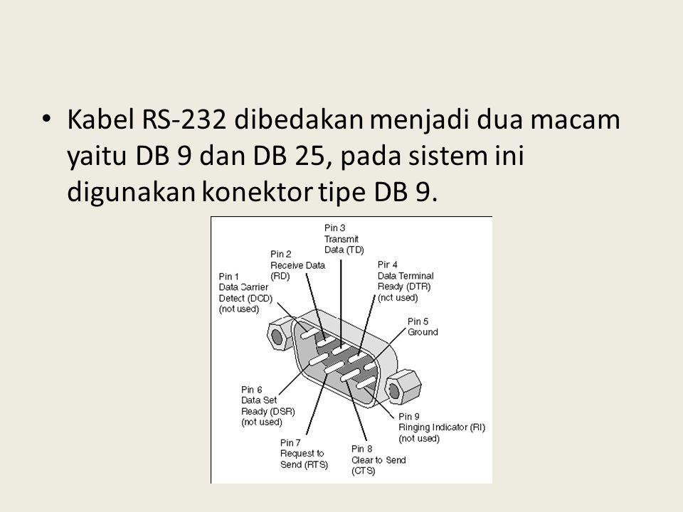 Kabel RS-232 dibedakan menjadi dua macam yaitu DB 9 dan DB 25, pada sistem ini digunakan konektor tipe DB 9.