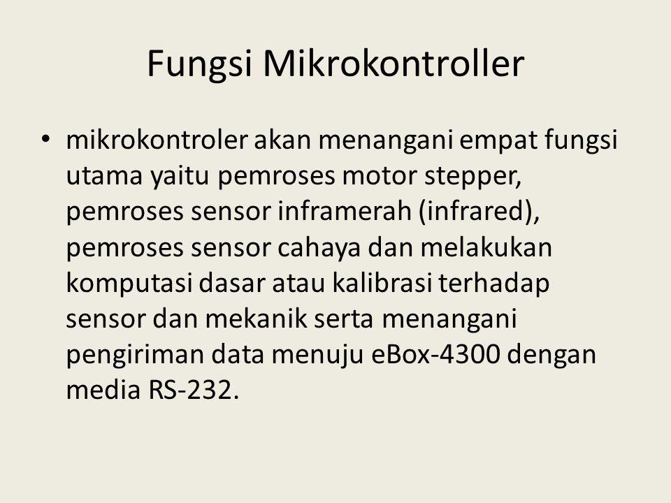 Fungsi Mikrokontroller mikrokontroler akan menangani empat fungsi utama yaitu pemroses motor stepper, pemroses sensor inframerah (infrared), pemroses