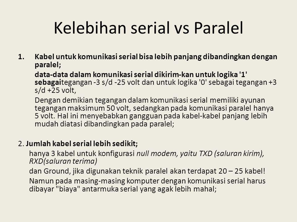 Kelebihan serial vs Paralel 1.Kabel untuk komunikasi serial bisa lebih panjang dibandingkan dengan paralel; data-data dalam komunikasi serial dikirim-