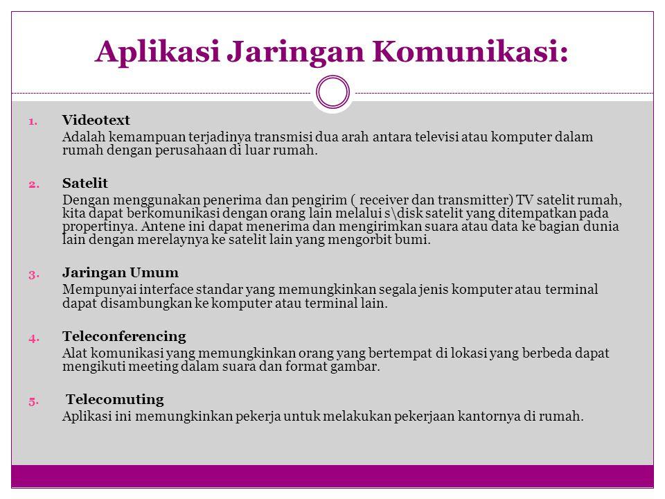 Aplikasi Jaringan Komunikasi: 1.