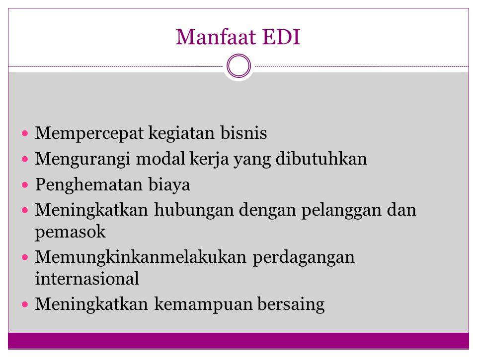 Manfaat EDI Mempercepat kegiatan bisnis Mengurangi modal kerja yang dibutuhkan Penghematan biaya Meningkatkan hubungan dengan pelanggan dan pemasok Memungkinkanmelakukan perdagangan internasional Meningkatkan kemampuan bersaing