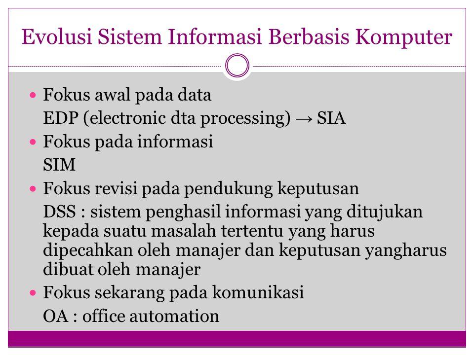 Evolusi Sistem Informasi Berbasis Komputer Fokus awal pada data EDP (electronic dta processing) → SIA Fokus pada informasi SIM Fokus revisi pada pendu