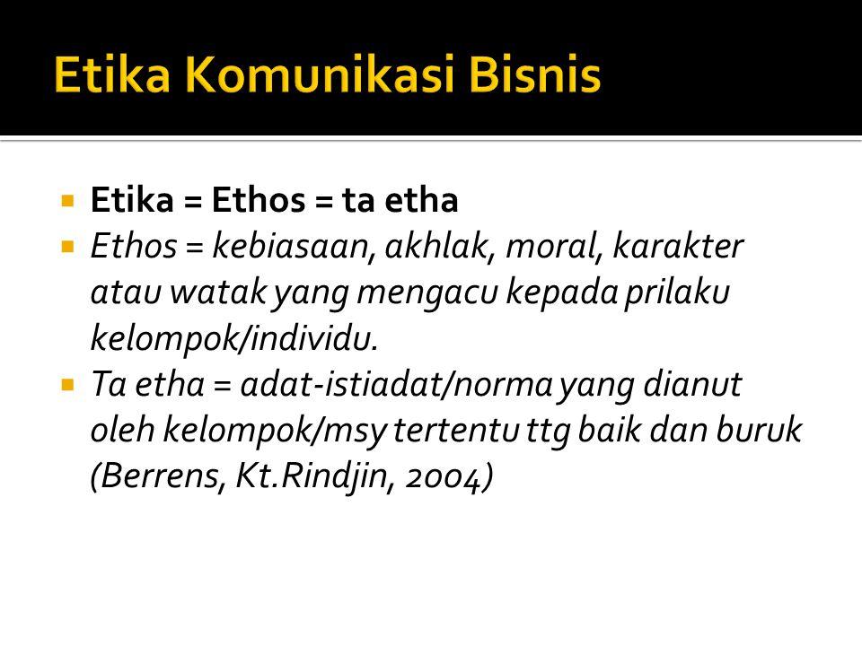  Etika = Ethos = ta etha  Ethos = kebiasaan, akhlak, moral, karakter atau watak yang mengacu kepada prilaku kelompok/individu.  Ta etha = adat-isti