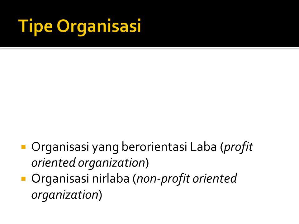  Organisasi yang berorientasi Laba (profit oriented organization)  Organisasi nirlaba (non-profit oriented organization)