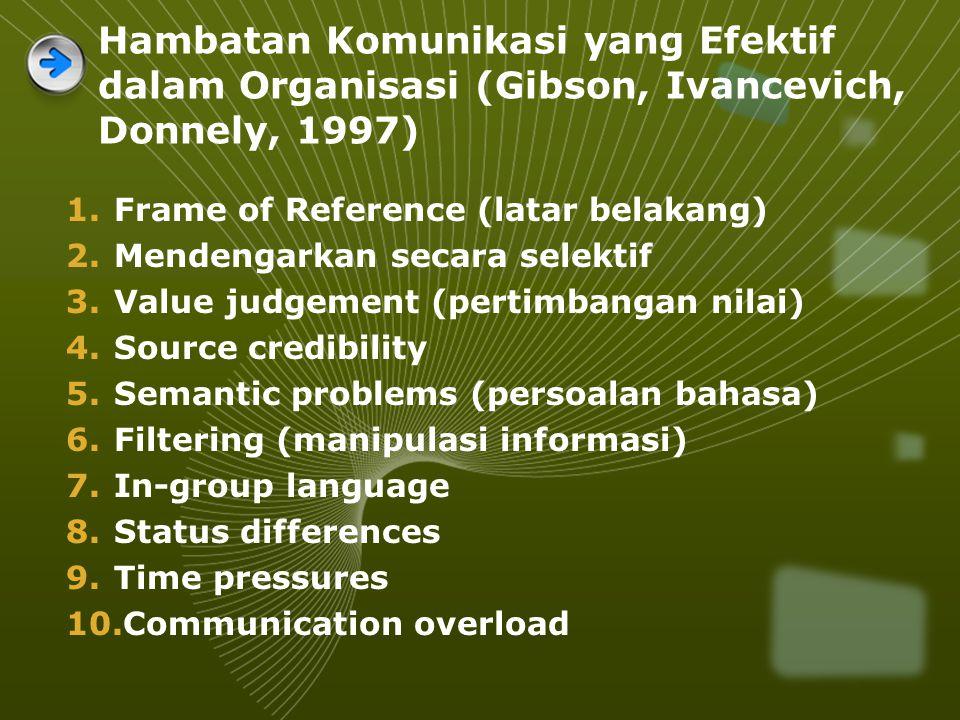 Hambatan Komunikasi yang Efektif dalam Organisasi (Gibson, Ivancevich, Donnely, 1997) 1.Frame of Reference (latar belakang) 2.Mendengarkan secara selektif 3.Value judgement (pertimbangan nilai) 4.Source credibility 5.Semantic problems (persoalan bahasa) 6.Filtering (manipulasi informasi) 7.In-group language 8.Status differences 9.Time pressures 10.Communication overload