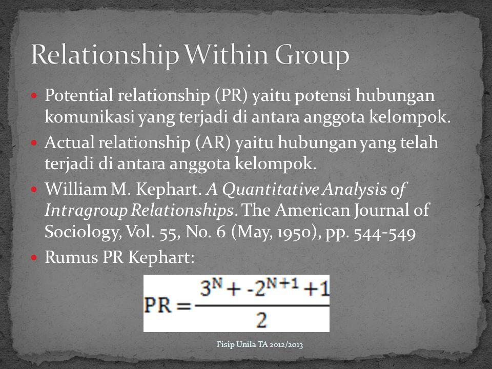 Potential relationship (PR) yaitu potensi hubungan komunikasi yang terjadi di antara anggota kelompok.