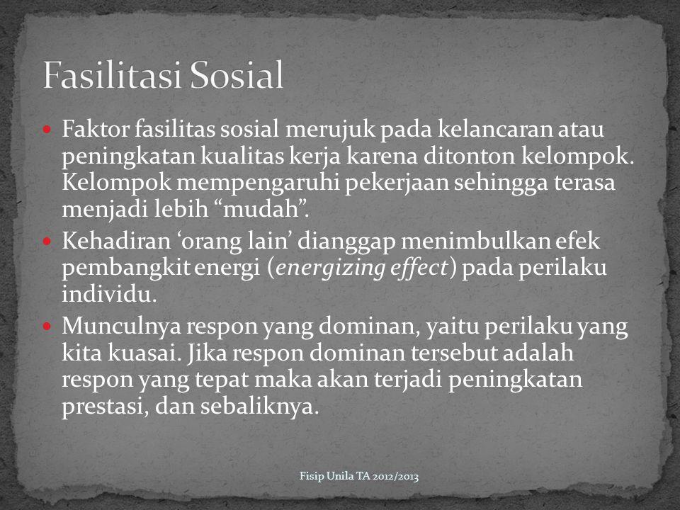 Faktor fasilitas sosial merujuk pada kelancaran atau peningkatan kualitas kerja karena ditonton kelompok.