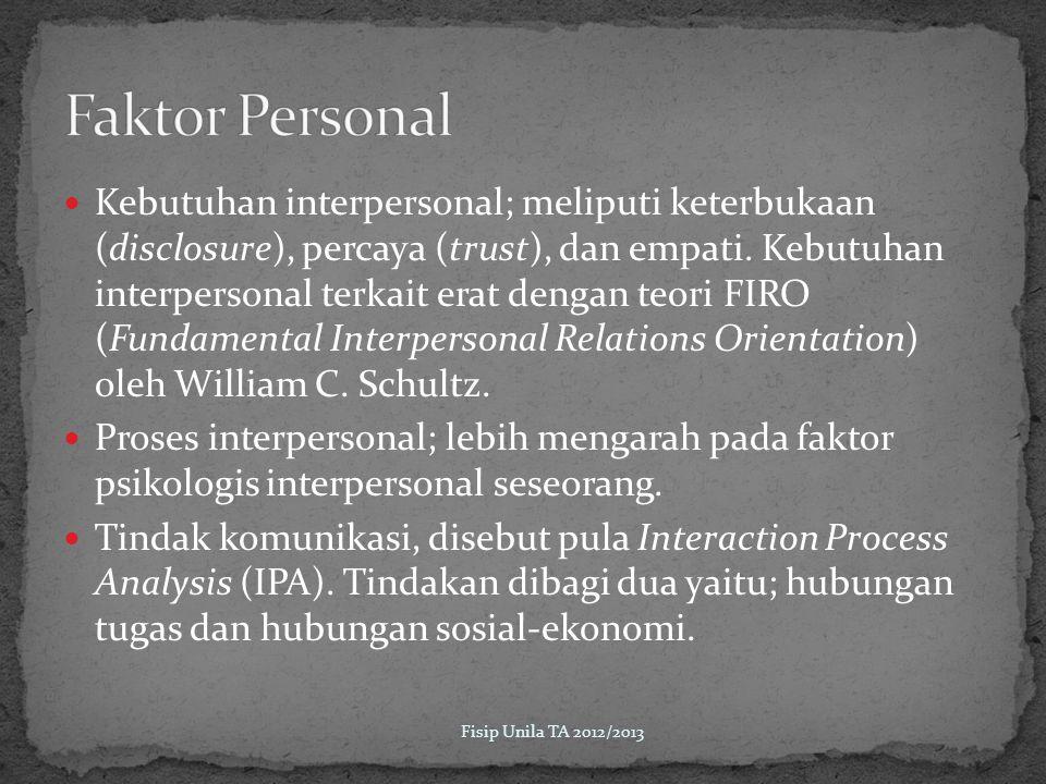 Kebutuhan interpersonal; meliputi keterbukaan (disclosure), percaya (trust), dan empati.