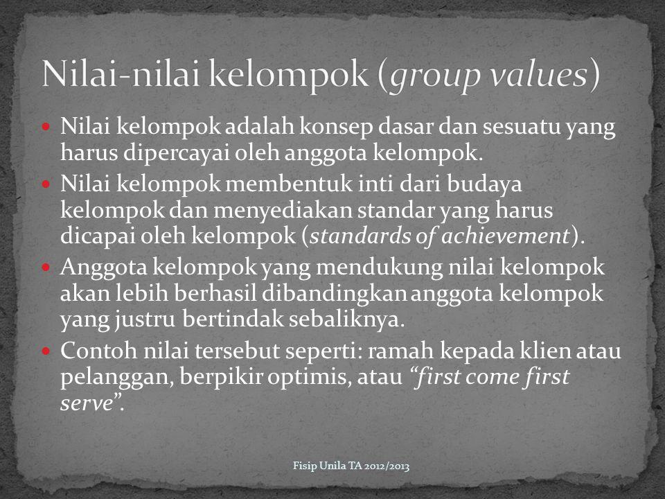 Nilai kelompok adalah konsep dasar dan sesuatu yang harus dipercayai oleh anggota kelompok.