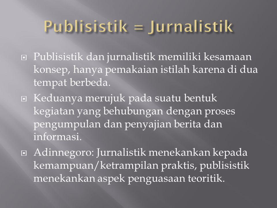  Publisistik dan jurnalistik memiliki kesamaan konsep, hanya pemakaian istilah karena di dua tempat berbeda.  Keduanya merujuk pada suatu bentuk keg