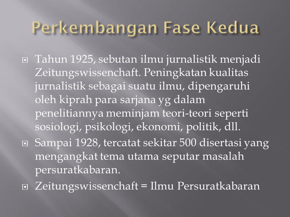  Tahun 1925, sebutan ilmu jurnalistik menjadi Zeitungswissenchaft. Peningkatan kualitas jurnalistik sebagai suatu ilmu, dipengaruhi oleh kiprah para