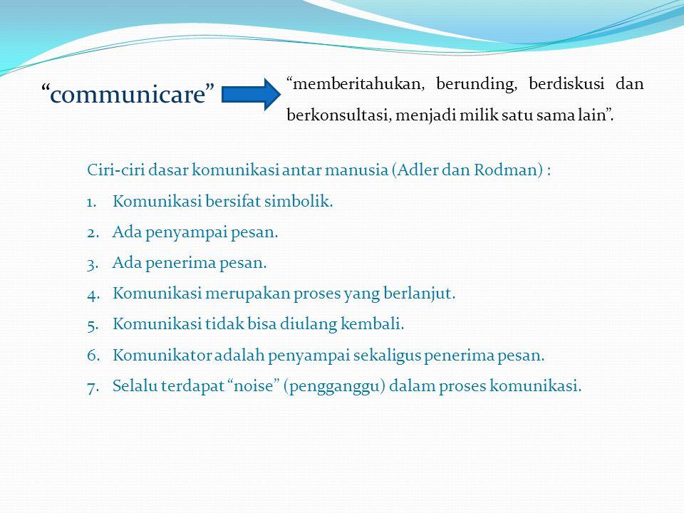 """""""communicare"""" """"memberitahukan, berunding, berdiskusi dan berkonsultasi, menjadi milik satu sama lain"""". Ciri-ciri dasar komunikasi antar manusia (Adler"""