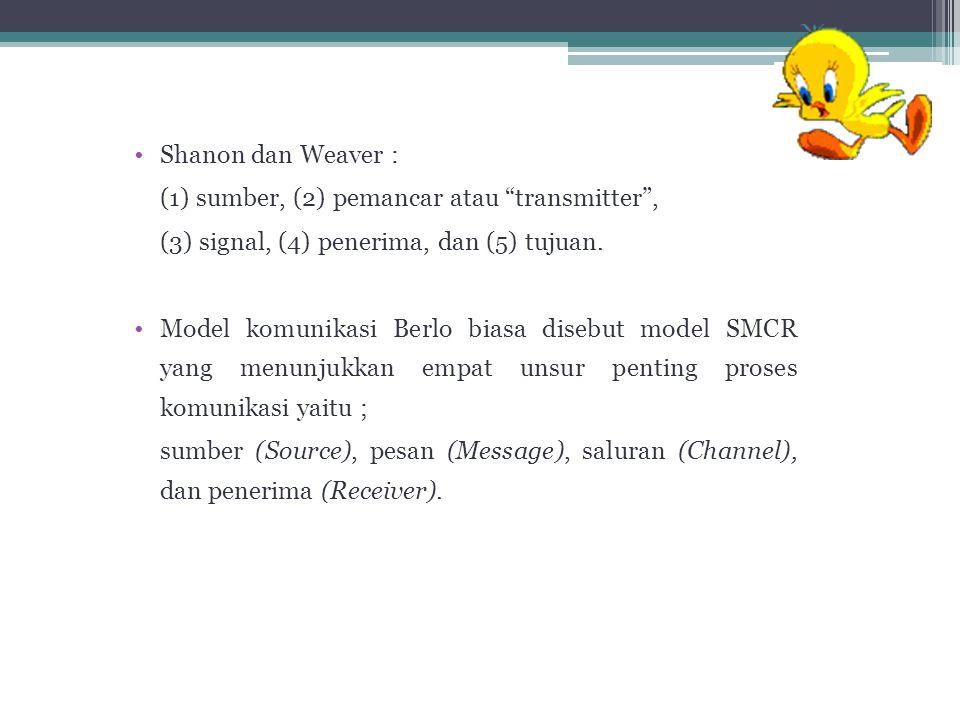 """Shanon dan Weaver : (1) sumber, (2) pemancar atau """"transmitter"""", (3) signal, (4) penerima, dan (5) tujuan. Model komunikasi Berlo biasa disebut model"""