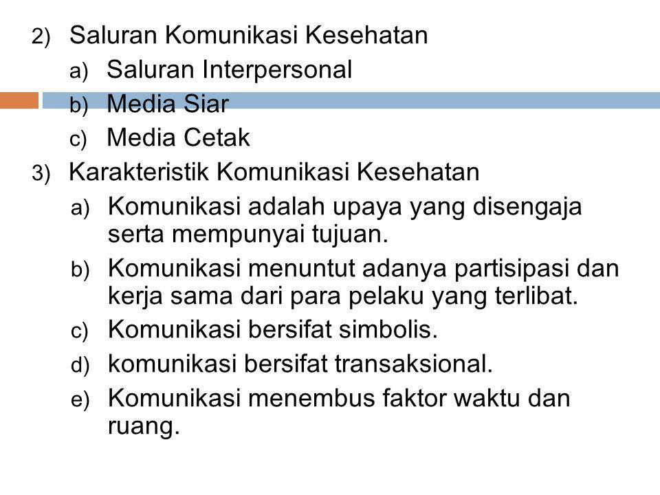 2) Saluran Komunikasi Kesehatan a) Saluran Interpersonal b) Media Siar c) Media Cetak 3) Karakteristik Komunikasi Kesehatan a) Komunikasi adalah upaya