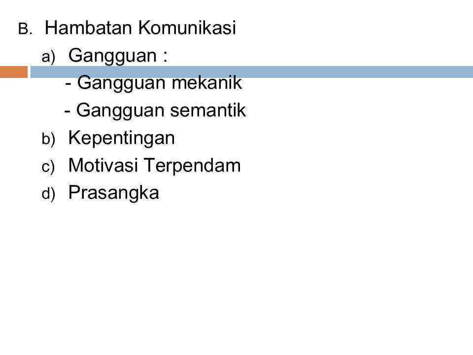 B. Hambatan Komunikasi a) Gangguan : - Gangguan mekanik - Gangguan semantik b) Kepentingan c) Motivasi Terpendam d) Prasangka