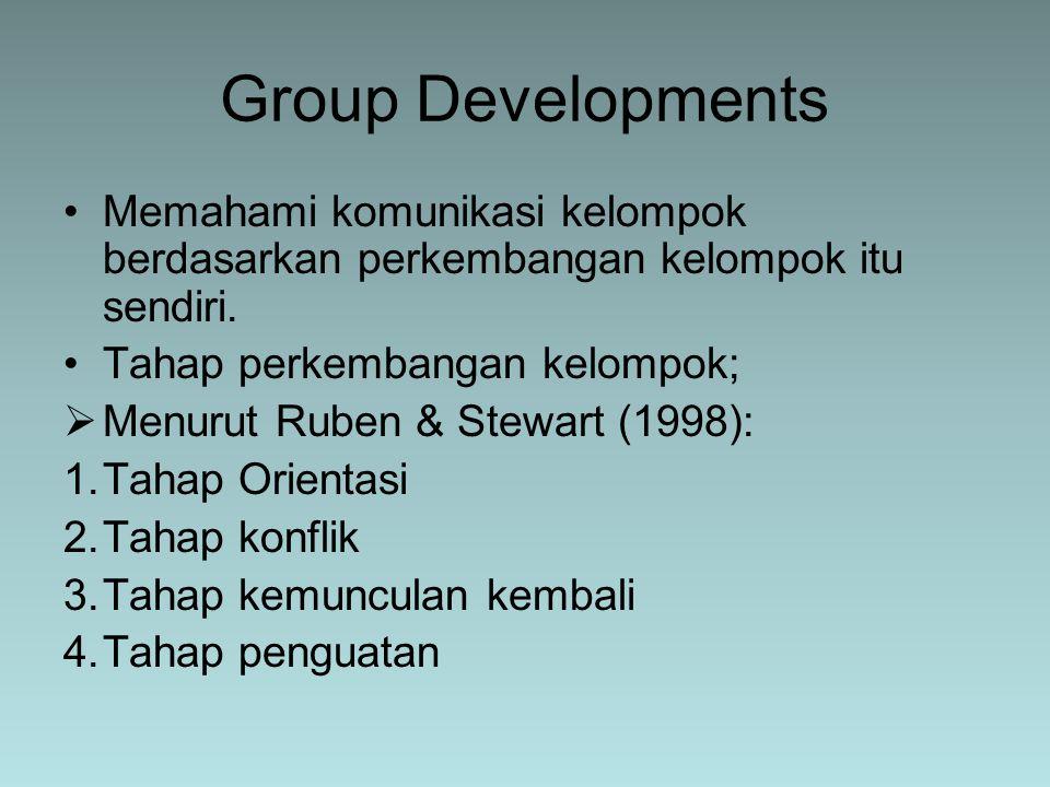 Memahami komunikasi kelompok berdasarkan perkembangan kelompok itu sendiri. Tahap perkembangan kelompok;  Menurut Ruben & Stewart (1998): 1.Tahap Ori