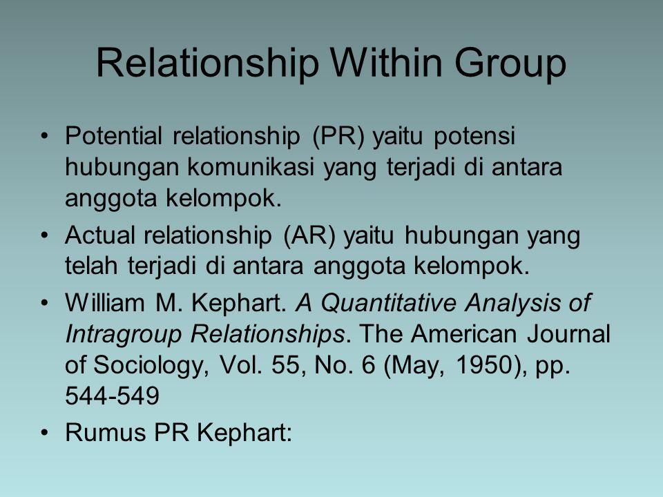 Potential relationship (PR) yaitu potensi hubungan komunikasi yang terjadi di antara anggota kelompok. Actual relationship (AR) yaitu hubungan yang te
