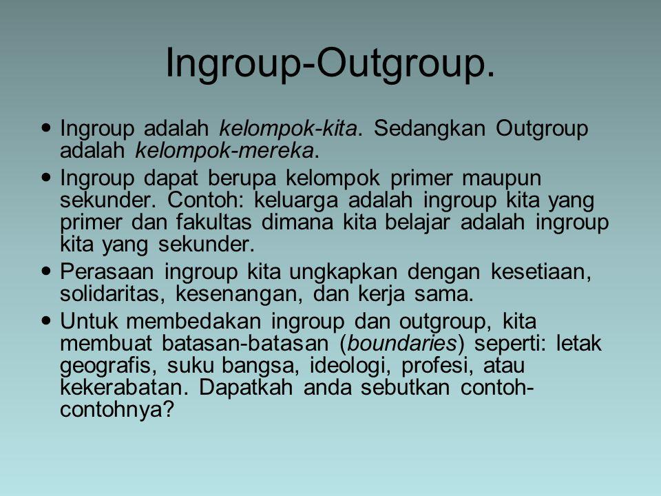 Ingroup adalah kelompok-kita. Sedangkan Outgroup adalah kelompok-mereka. Ingroup dapat berupa kelompok primer maupun sekunder. Contoh: keluarga adalah