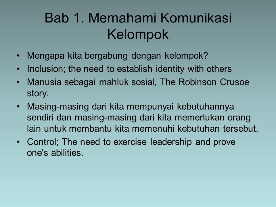 Dalam suatu kelompok terdapat tiga peran dan tanggung jawab yang membentuk pola hubungan anggota-kelompok, yaitu: 1.Peran yang berhubungan dengan kinerja penyelesaian tugas kelompok 2.Peran yang berkaitan dengan hal-hal yang mendukung dan membangun kelompok 3.Peran-peran individu dalam kelompok Peran dan tanggung jawab