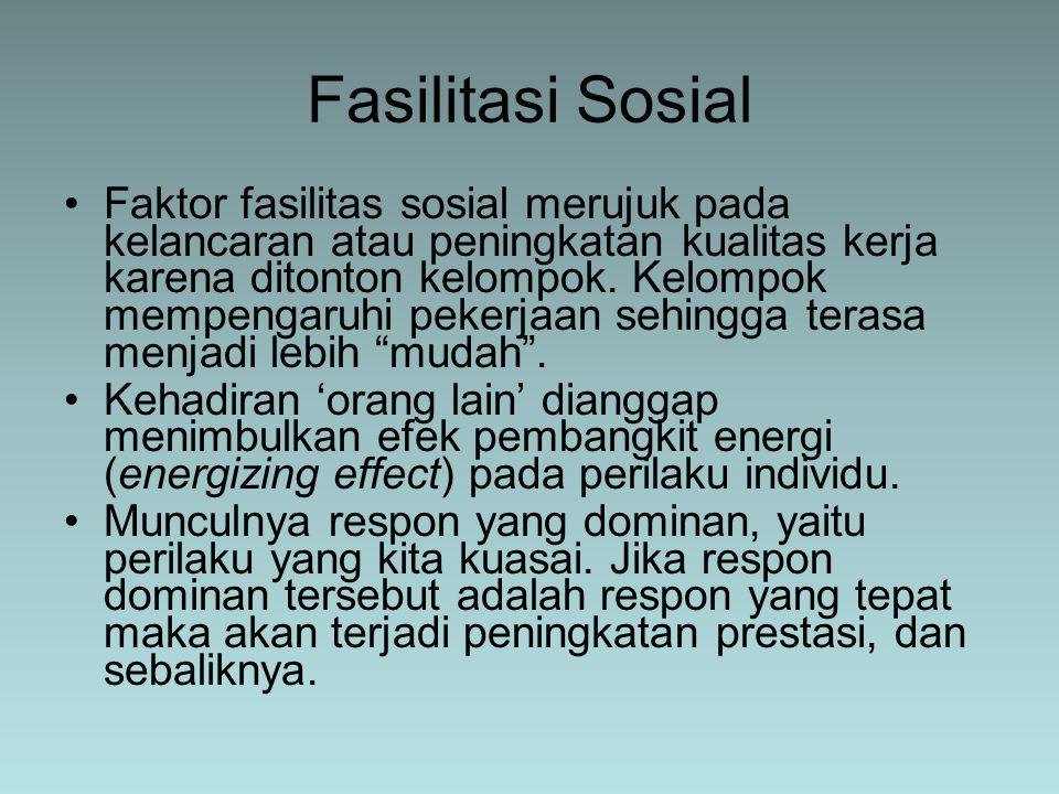 Faktor fasilitas sosial merujuk pada kelancaran atau peningkatan kualitas kerja karena ditonton kelompok. Kelompok mempengaruhi pekerjaan sehingga ter