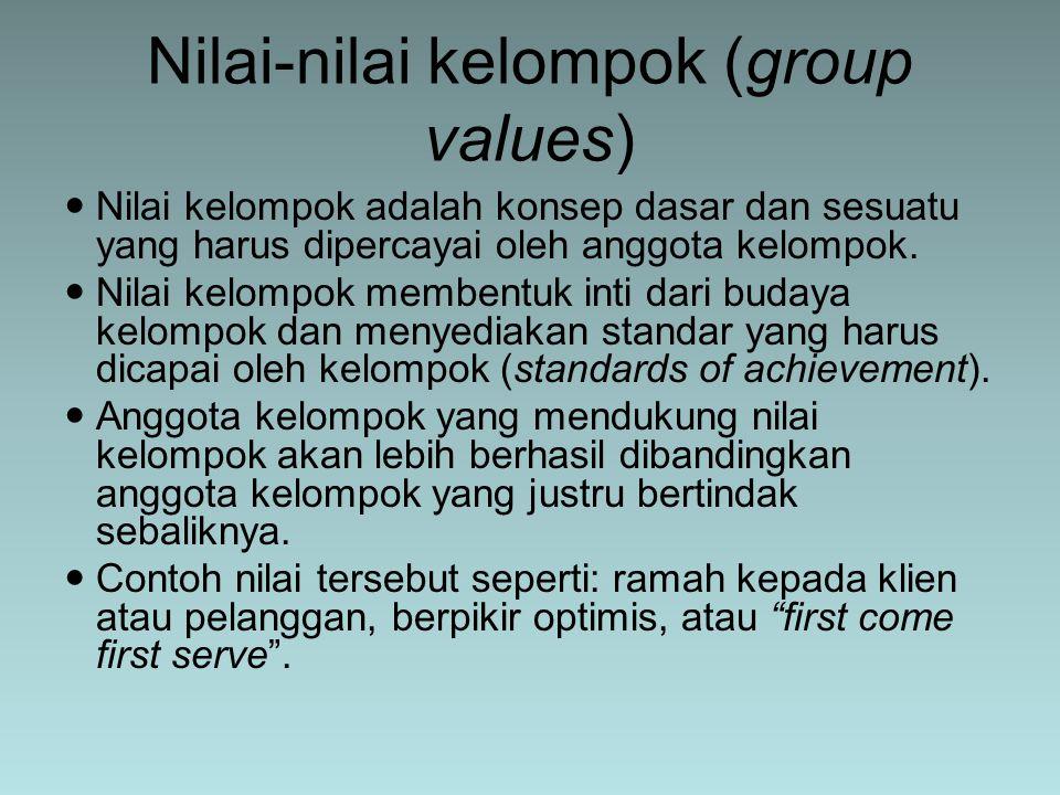 Nilai kelompok adalah konsep dasar dan sesuatu yang harus dipercayai oleh anggota kelompok. Nilai kelompok membentuk inti dari budaya kelompok dan men