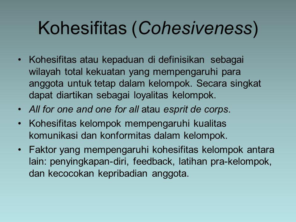 Kohesifitas atau kepaduan di definisikan sebagai wilayah total kekuatan yang mempengaruhi para anggota untuk tetap dalam kelompok. Secara singkat dapa