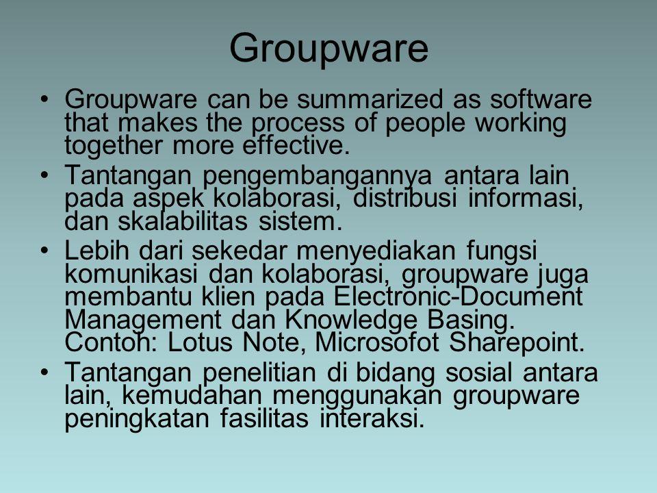 Groupware can be summarized as software that makes the process of people working together more effective. Tantangan pengembangannya antara lain pada a