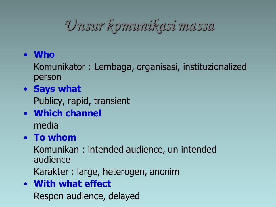 Unsur komunikasi massa Who Komunikator : Lembaga, organisasi, instituzionalized person Says what Publicy, rapid, transient Which channel media To whom