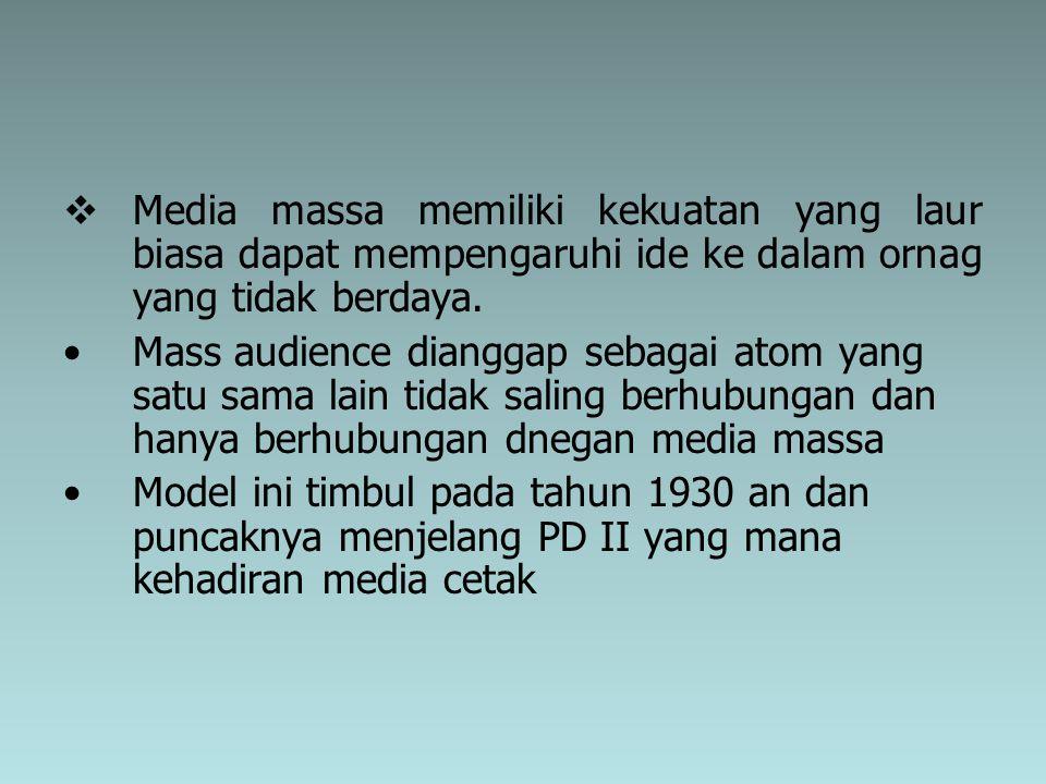  Media massa memiliki kekuatan yang laur biasa dapat mempengaruhi ide ke dalam ornag yang tidak berdaya. Mass audience dianggap sebagai atom yang sat