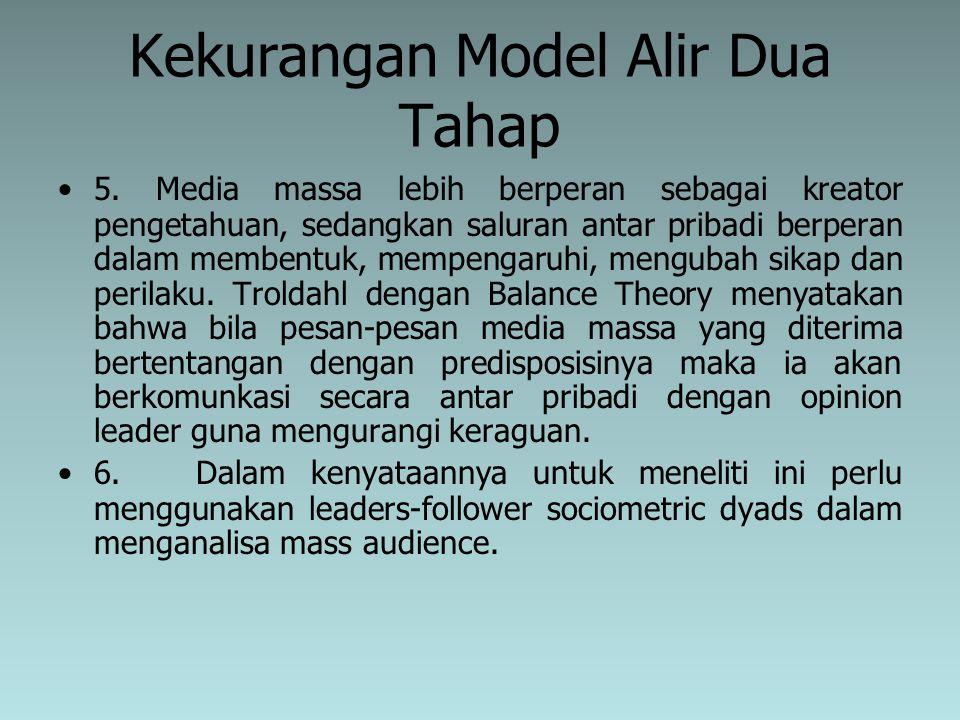 Kekurangan Model Alir Dua Tahap 5. Media massa lebih berperan sebagai kreator pengetahuan, sedangkan saluran antar pribadi berperan dalam membentuk, m