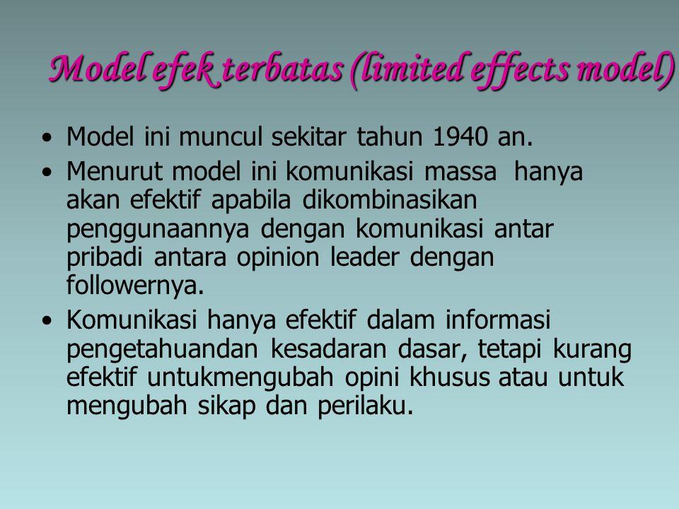 Model efek terbatas (limited effects model) Model ini muncul sekitar tahun 1940 an. Menurut model ini komunikasi massa hanya akan efektif apabila diko