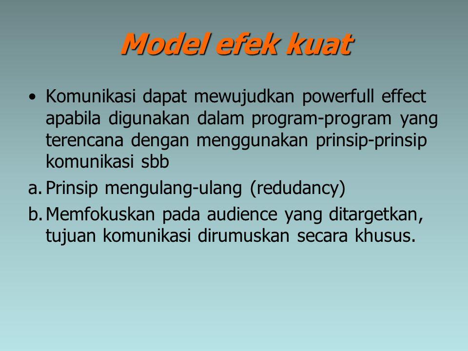 Model efek kuat Komunikasi dapat mewujudkan powerfull effect apabila digunakan dalam program-program yang terencana dengan menggunakan prinsip-prinsip
