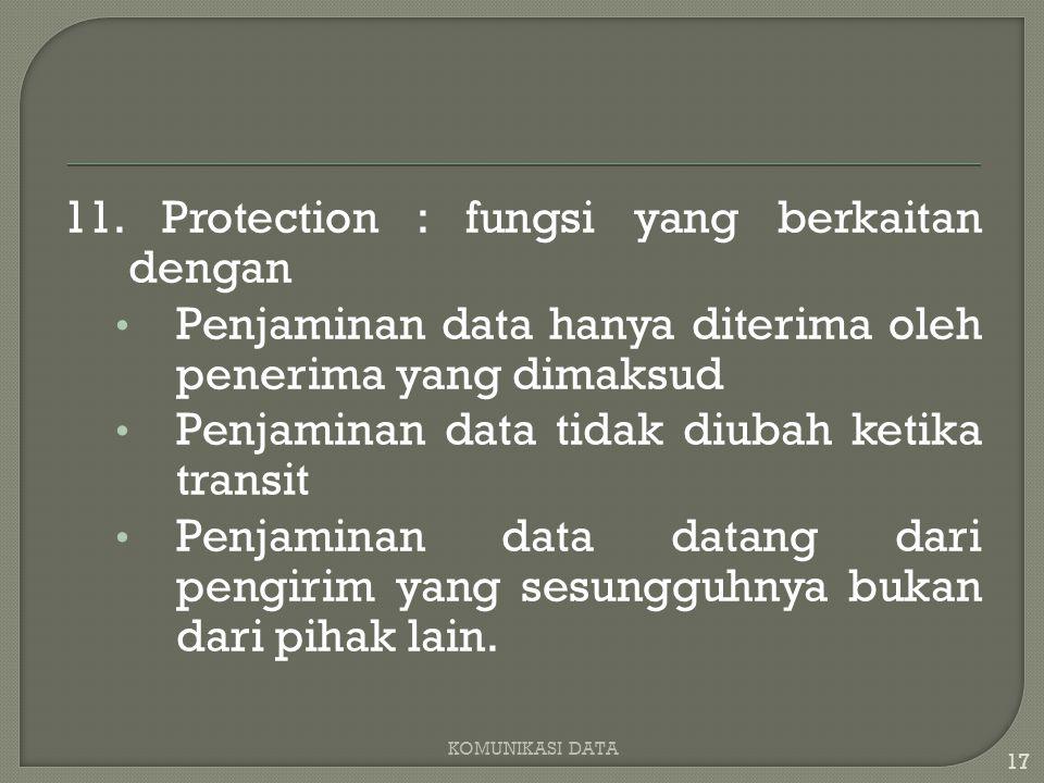11. Protection : fungsi yang berkaitan dengan Penjaminan data hanya diterima oleh penerima yang dimaksud Penjaminan data tidak diubah ketika transit P