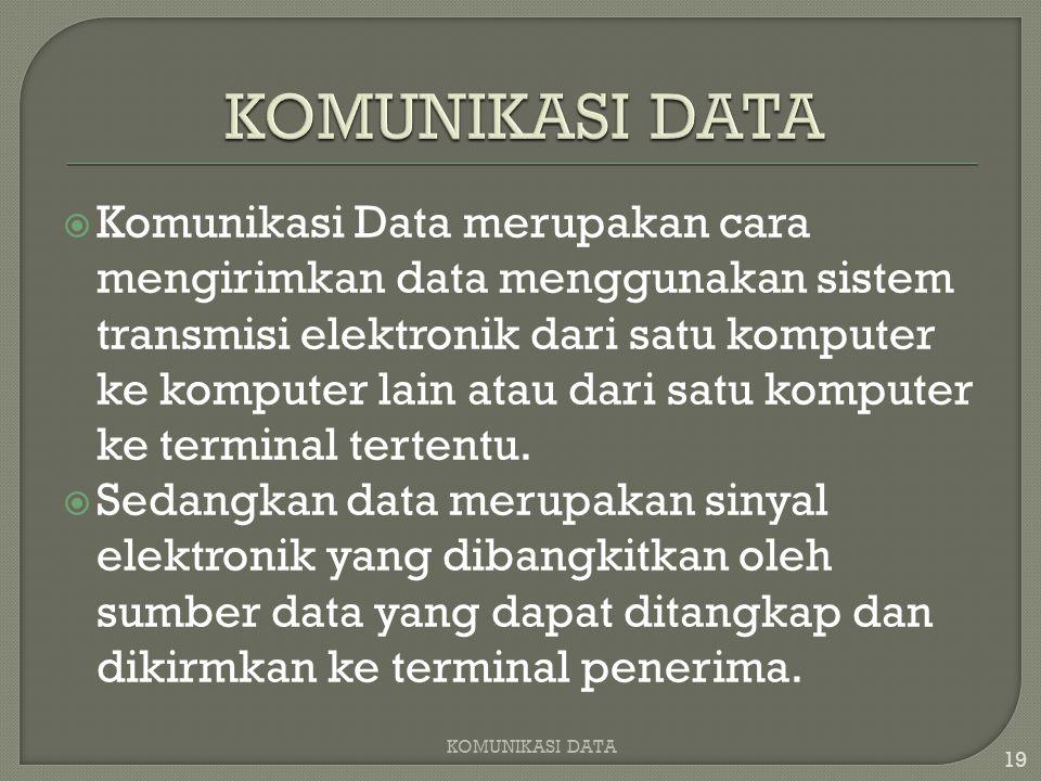  Komunikasi Data merupakan cara mengirimkan data menggunakan sistem transmisi elektronik dari satu komputer ke komputer lain atau dari satu komputer ke terminal tertentu.