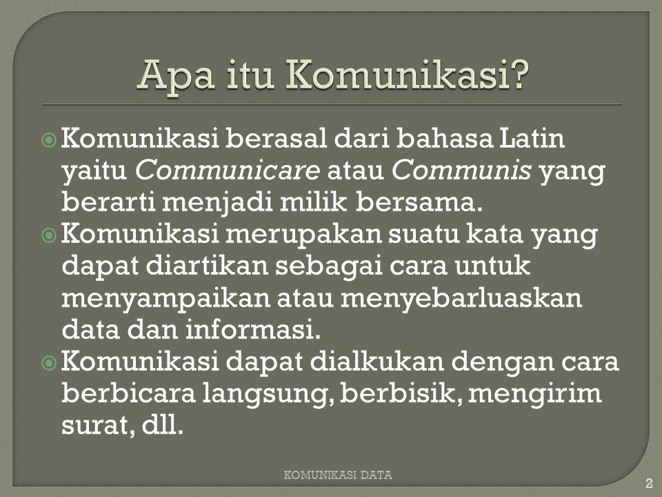  Komunikasi berasal dari bahasa Latin yaitu Communicare atau Communis yang berarti menjadi milik bersama.