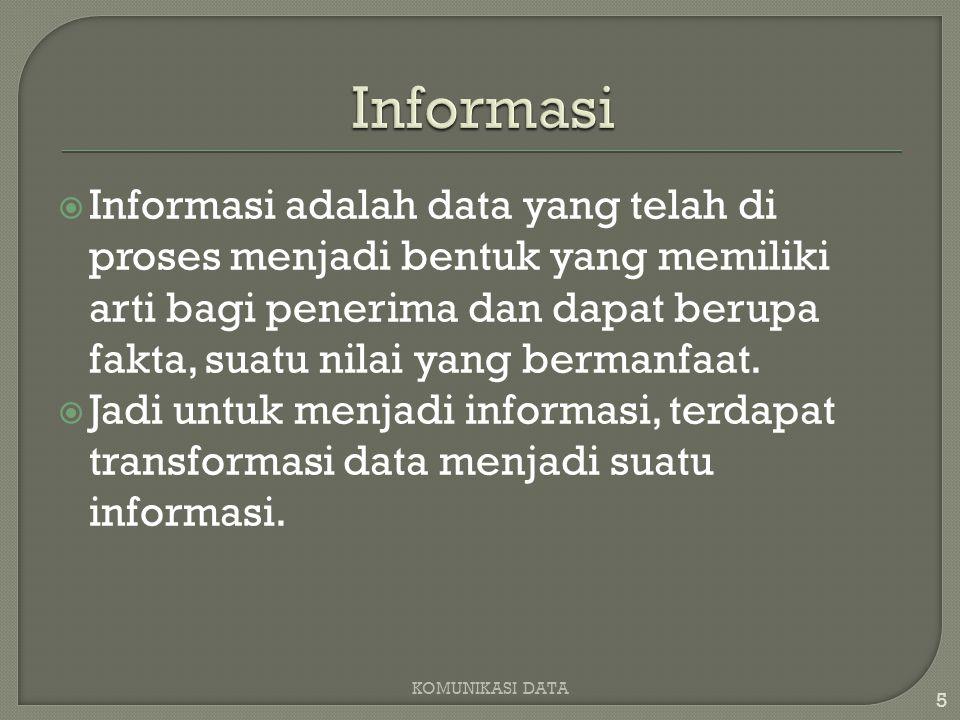  Informasi adalah data yang telah di proses menjadi bentuk yang memiliki arti bagi penerima dan dapat berupa fakta, suatu nilai yang bermanfaat.
