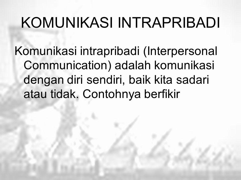 KOMUNIKASI INTRAPRIBADI Komunikasi intrapribadi (Interpersonal Communication) adalah komunikasi dengan diri sendiri, baik kita sadari atau tidak. Cont
