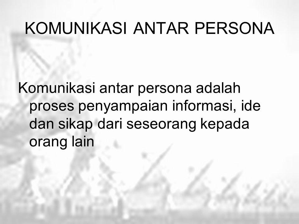 KOMUNIKASI ANTAR PERSONA Komunikasi antar persona adalah proses penyampaian informasi, ide dan sikap dari seseorang kepada orang lain
