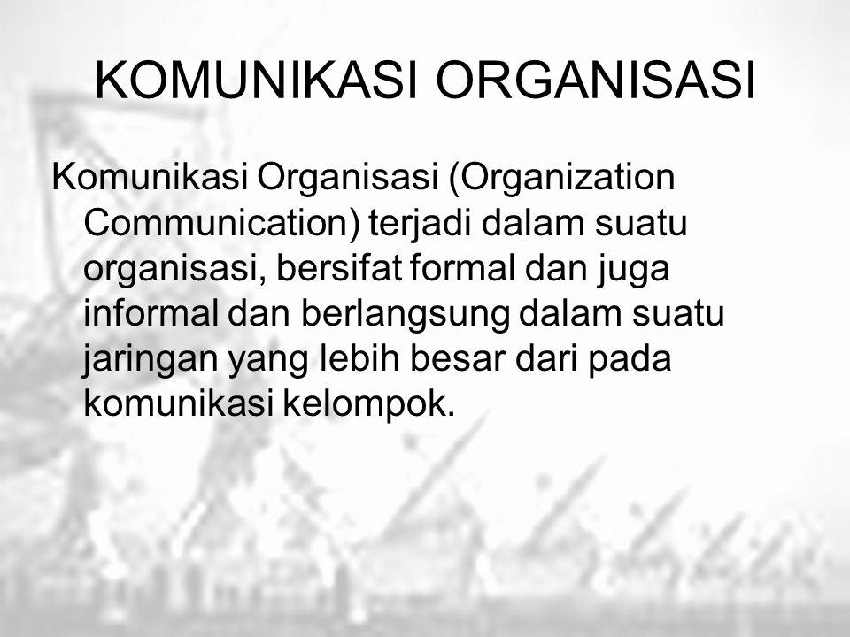 KOMUNIKASI ORGANISASI Komunikasi Organisasi (Organization Communication) terjadi dalam suatu organisasi, bersifat formal dan juga informal dan berlang
