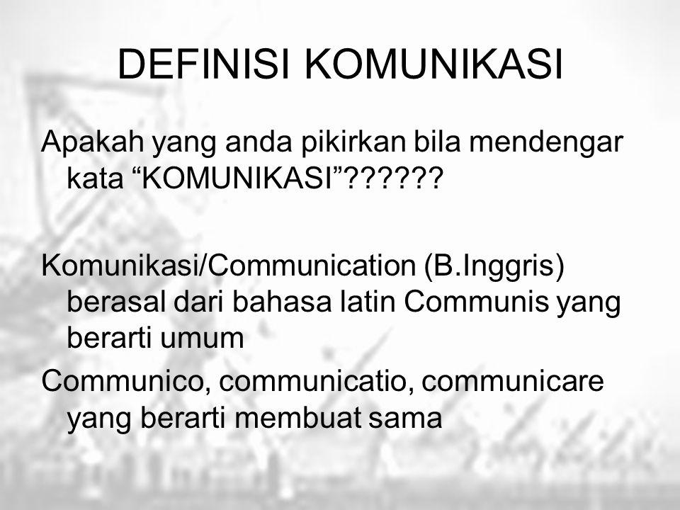 """DEFINISI KOMUNIKASI Apakah yang anda pikirkan bila mendengar kata """"KOMUNIKASI""""?????? Komunikasi/Communication (B.Inggris) berasal dari bahasa latin Co"""