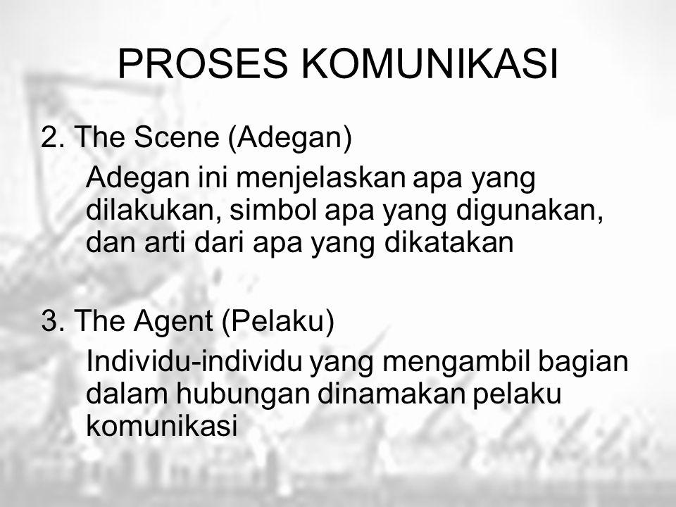 PROSES KOMUNIKASI 2. The Scene (Adegan) Adegan ini menjelaskan apa yang dilakukan, simbol apa yang digunakan, dan arti dari apa yang dikatakan 3. The
